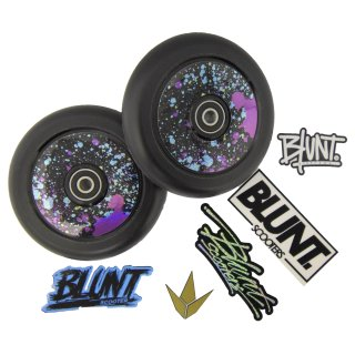 2 x Blazer Pro Stunt-Scooter Hollow Core Rollen 110mm PU Schwarz + 1x Blunt Wheel Sticker Pack Splatter für 2 Rollen